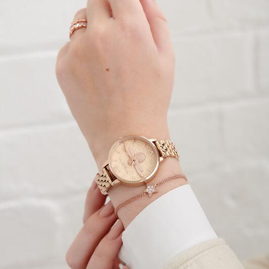 Glitter Bee 3D Bee & Pale Rose Gold Bracelet