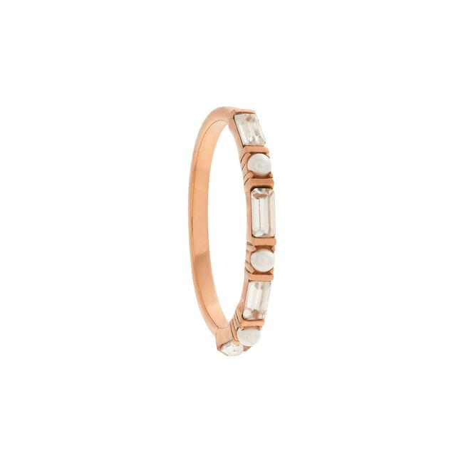 Classic Baguette & Pearl Rose Gold Ring