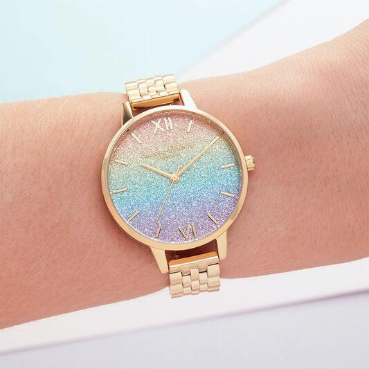 Rainbow Glitter Dial & Gold Bracelet
