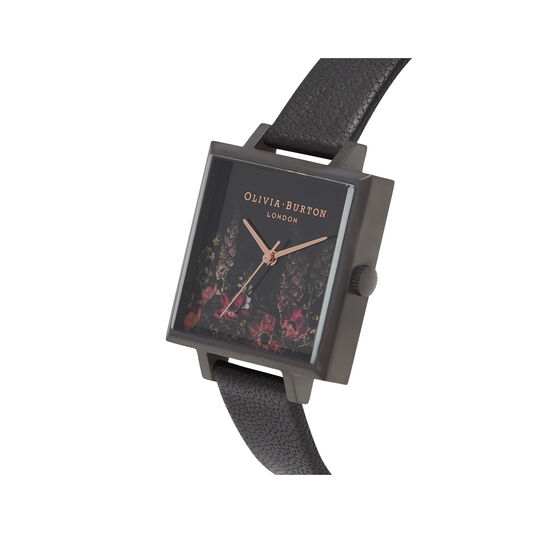 After Dark Floral Big Square Dial Matte Black & Rose Gold Watch