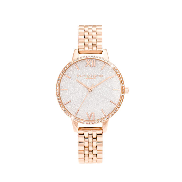 White Demi Glitter Dial Sparkle Bezel Rose Gold Watch