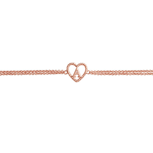 'A' Heart Initial Chain Bracelet Rose Gold