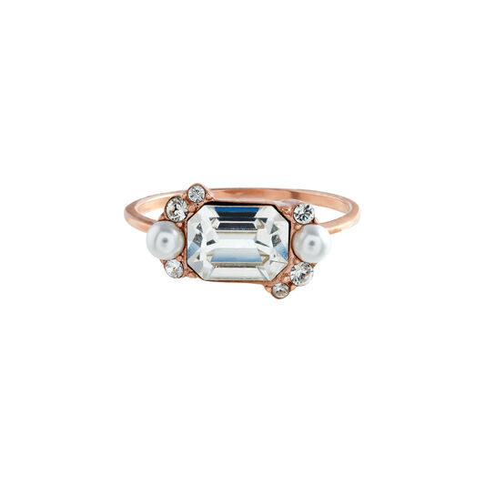 Clear Stone & Pearl Rose Gold Cocktail Ring