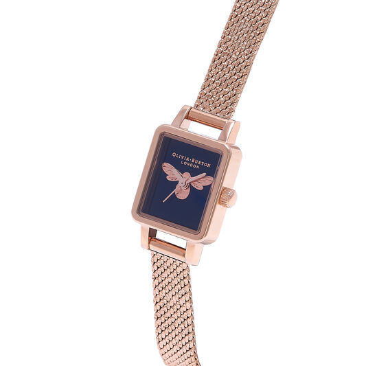 Lucky Bee Mini Blue Dial Rose Gold Mesh Watch