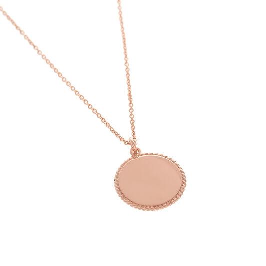 Collier or rose à médaillon Engravable