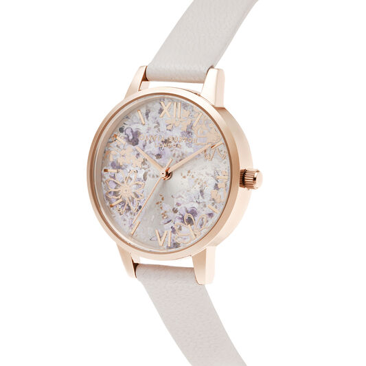 Abstract Floral Midi Pearl Pink & Rose Gold Watch