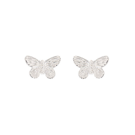 3D Butterfly Silver Studs