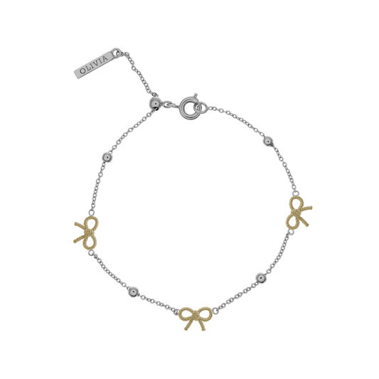 Bow and Ball Bracelet Silver and Gold