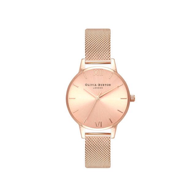 Sunray Rose Gold Mesh Watch