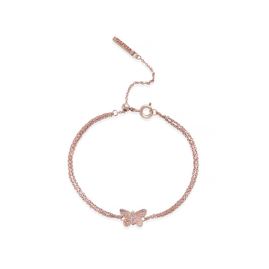 Bejewelled Butterfly Chain Bracelet Rose Gold & Tanzanite