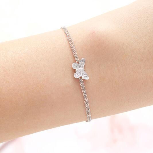 3D Butterfly Silver Bracelet