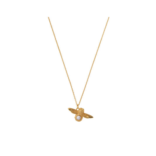 Pearl Bee Pendant Gold Necklace