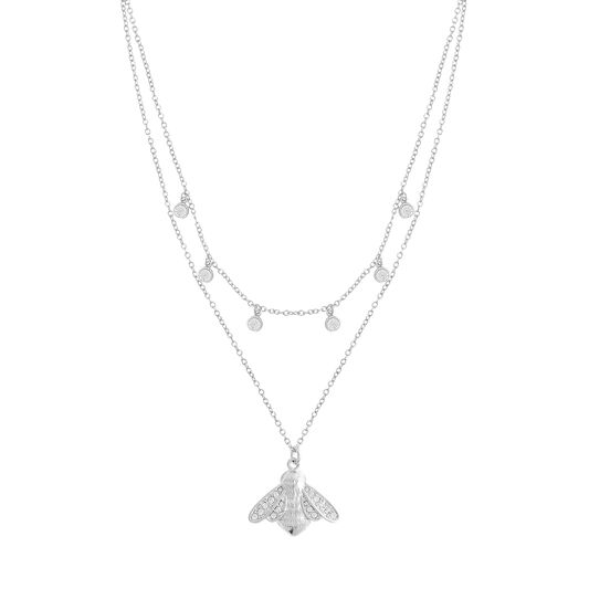 Glitter Bee Double Layer Silver Necklace