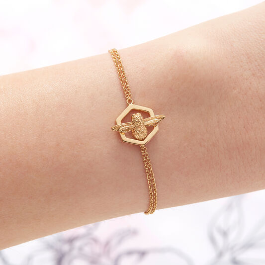 Honeycomb Bee Gold Bracelet