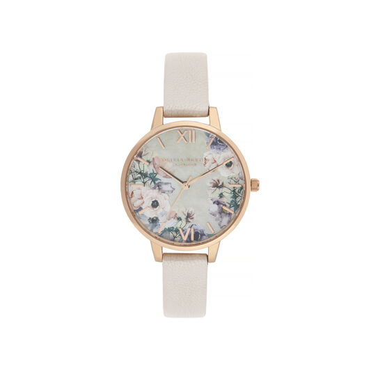 Watercolour Florals Nude & Rose Gold Watch