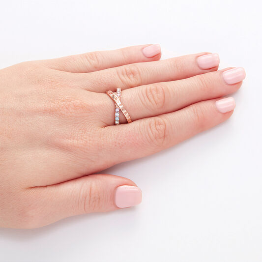 Bejewelled Classics Rainbow Interlink Ring Rose Gold (M)