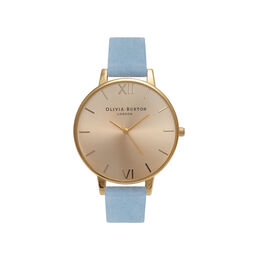 Sunray Dial, Chalk Blue Suede & Gold Watch