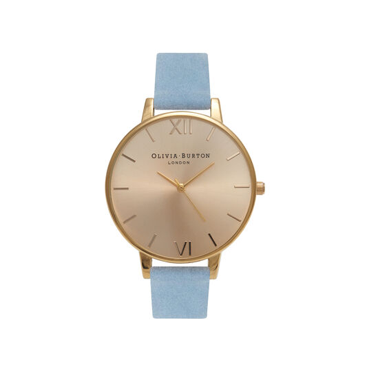 Olivia Burton Sunray Dial, Chalk Blue Suede & Gold Watch