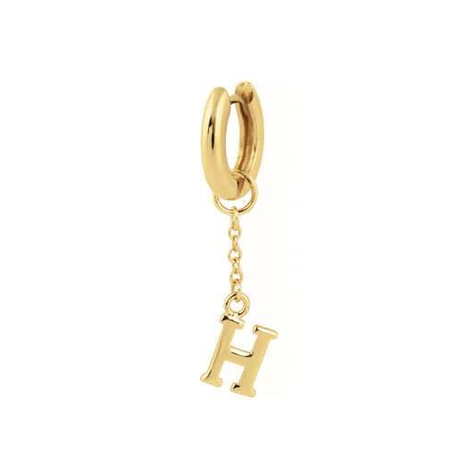 H Huggie Charm Gold