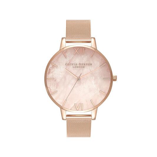 Semi Precious Rose Gold Mesh Watch