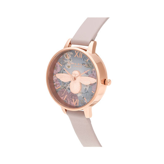 British Blooms 3D Bee, Vegan Rose & Rose Gold Watch