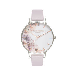 Watercolour Florals Grey Lilac & Silver Watch