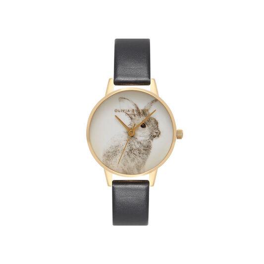 Vegan Friendly Woodland Bunny Black & Gold Watch