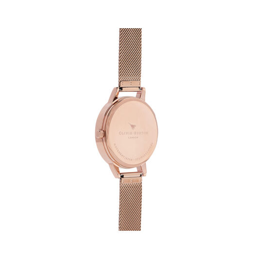 Watercolour Florals Rose Gold Mesh Watch
