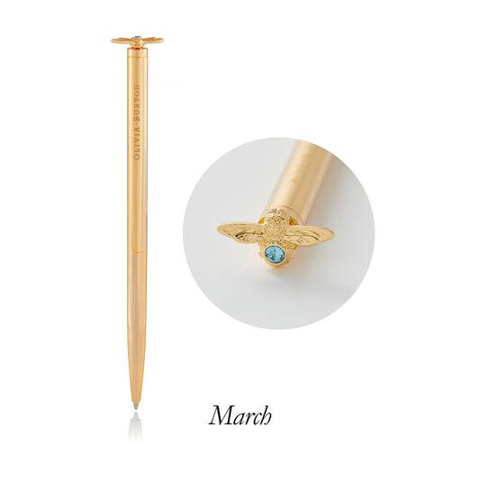 Celebration Bee Pen Aquamarine Crystal &GoldMar