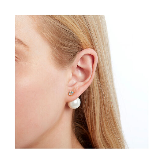 Under The Sea Pearl Back Gold Earrings
