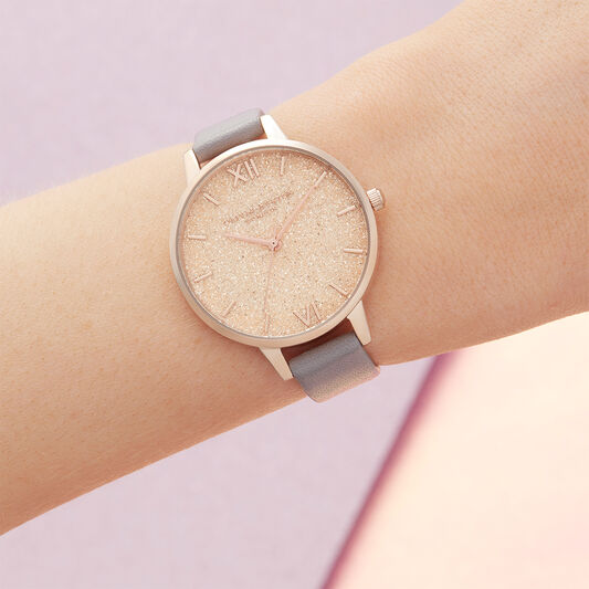 Glitter Dial Grey Lilac & Pale Rose Gold