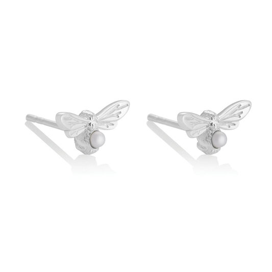 Celebration Stones Celebration Bee Studs Silver & Pearl (June)