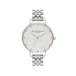 White Mother Of Pearl, Thin Case Silver Bracelet Watch