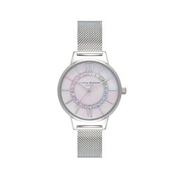 Rainbow Sparkle Wonderland Silver Mesh Watch