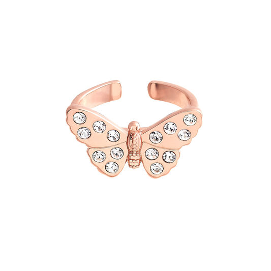 3D Sparkle Butterfly Rose Gold Ring