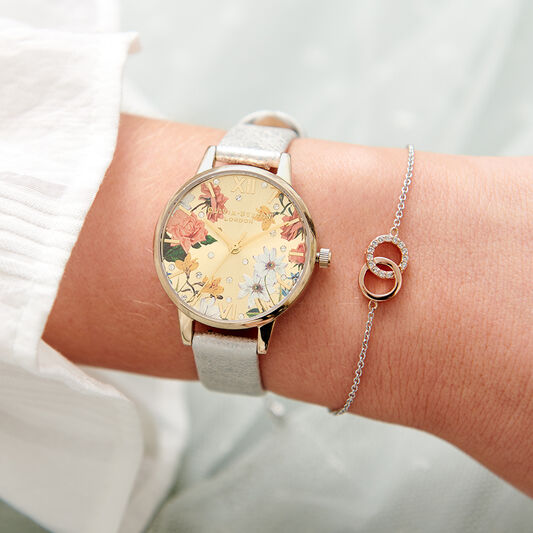 Sparkle Floral Shimmer Pearl & Gold Watch