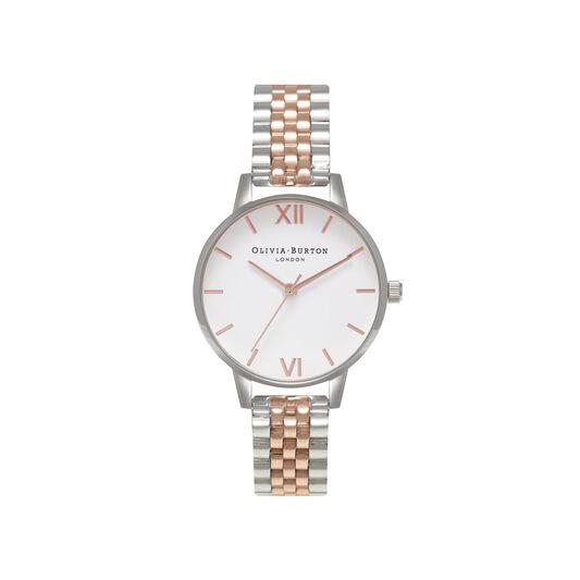 White Dial Silver & Rose Gold Bracelet Watch