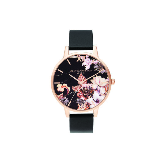 Shoreditch Marble Florals, Black & Rose Gold Watch