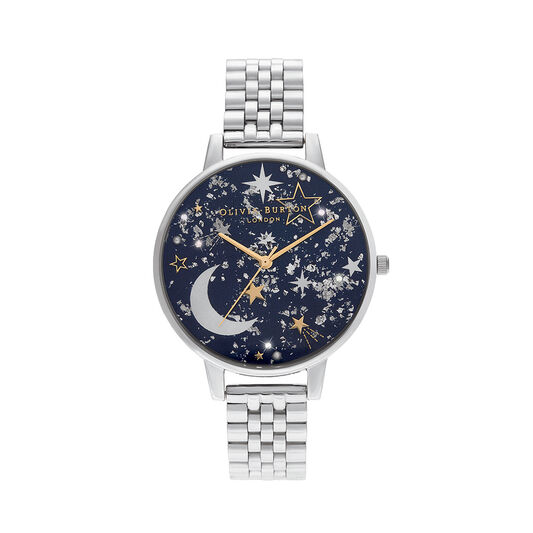 Celestial Navy Sunray, Gold & Silver Watch