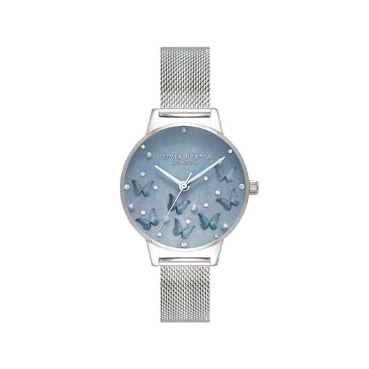 Pale Blue Mother Of Pearl Butterflies & Faux Pearl Midi Dial Silver Mesh Watch