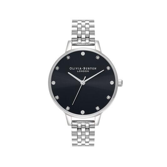Montre Classic à cadran Demi et bracelet noir et argent