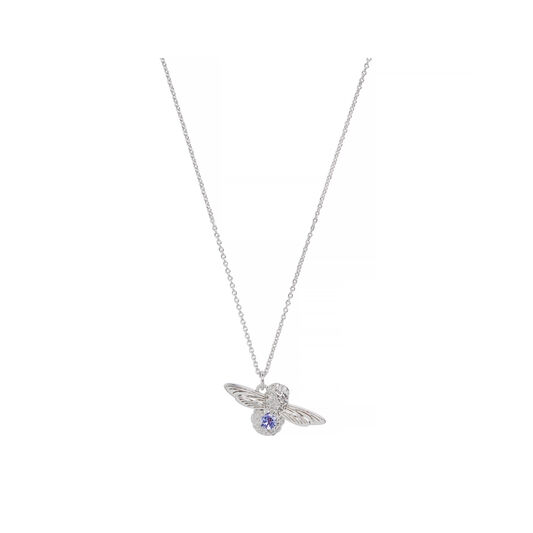 Bejewelled Bee Pendant, Tanzanite Necklace