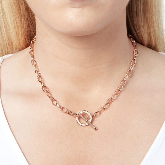 Bejewelled T-Bar Necklace Rose Gold