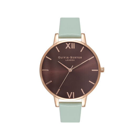 Chocolate & Mint Green Rose Gold Watch