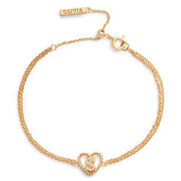 'S' Heart Initial Chain Bracelet Gold