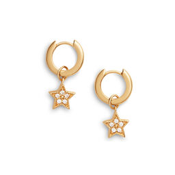 Celestial Star Charm Huggies Gold