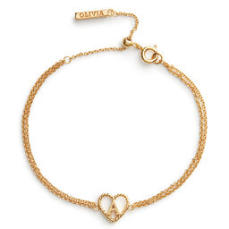 'A' Heart Initial Chain Bracelet Gold