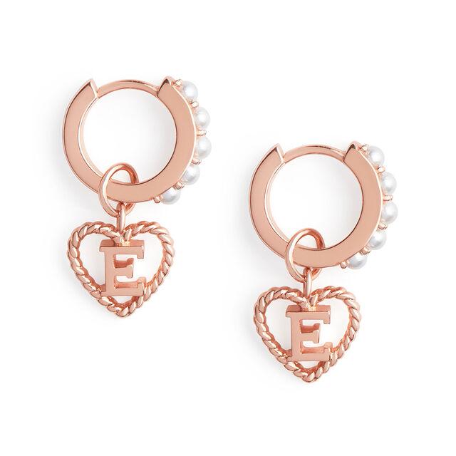 'E' Faux Pearl Heart Initial Huggie Hoop Rose Gold