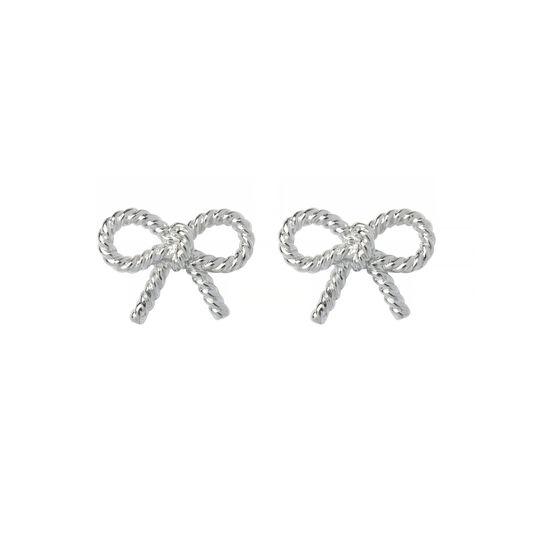 Vintage Bow Silver Earrings