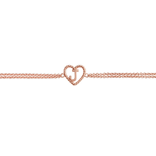 'J' Heart Initial Chain Bracelet Rose Gold